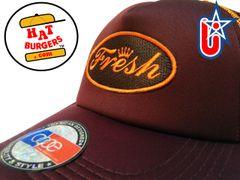 "smARTpatches Truckers ""Fresh"" Trucker Hat Curved Bill DJ Hip Hop (Cinnamon & Orange)"
