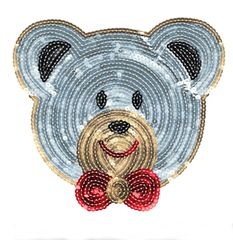 Teddy Bear Patch with Bow XXL Sequins (21cm)