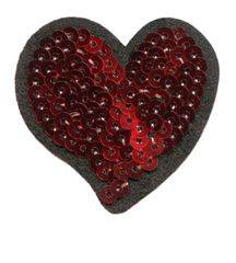 Heart Patch Red Sequins (5.5cm)