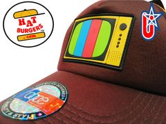 smARTpatches Truckers Vintage Style Retro TV Television Trucker Hat Curved Bill PVC Rubber Logo (Cinnamon & Orange)