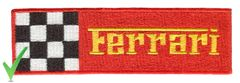 Ferrari Script Patch Red and Yellow Checker Flag 13cm x 4cm