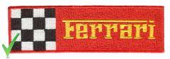 Ferrari Script Patch Red and Yellow Checker Flag 13cm x 4cm