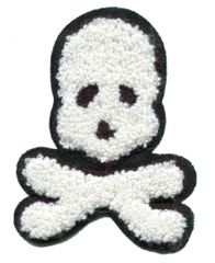 Large Chenille White Skull Patch (11cm)