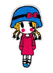 XXL Extra Large Cute Chenille Girl Standing Patch 23cm
