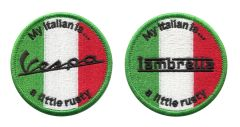 "Vintage Style ""My Italian is a Little Rusty"" Vespa/Lambretta Scooter Patch 7cm"