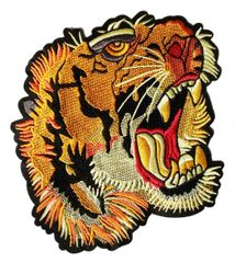 Cool Tattoo Style Roaring Tiger Patch XXL Extra Large 19cm
