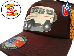 smARTpatches Truckers 70's 4 x 4 Truck Trucker Hat Curved Bill (Cream Truck,Orange & Cinnamon)
