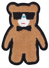 XXL ChenilleTeddy Bear Patch (26cm) & Sequins Glasses/Outline