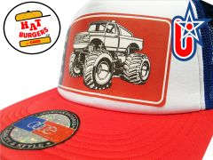smARTpatches Truckers 80's Muscle Car Hot Rod 4 x 4 Monster Truck Trucker Hat (Green Car, Bandana)