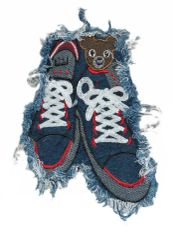 Denim Sneakers Teddy Bear Patch XXL 23cm
