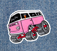 Cool Vintage Style 70's Hot Rod Van Bus Patch 9.5cm
