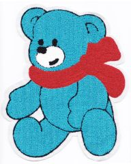 Chenille Blue Teddy Bear Patch 25cm