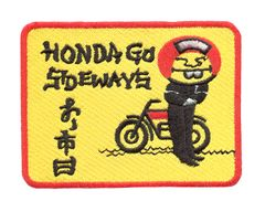 "Honda Vintage Style Dirt Bike Mototcycle Patch ""Honda Go Sideways"" 10cm x 7.5 cm"