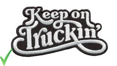 Keep on Truckin' Script Vintage Style 70's Patch 13cm x 7cm 5 Colors Inside