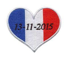 French Memorial Heart Paris Terror Attacks 13-11-2015 (Iron-On)