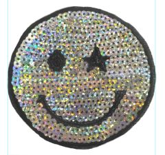Smiley Face Patch Vintage Style Sequins Smile Patch Badge 10cm
