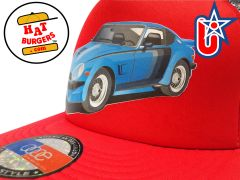 smARTpatches Truckers 70's Sports Car Trucker Hat (Red & White)