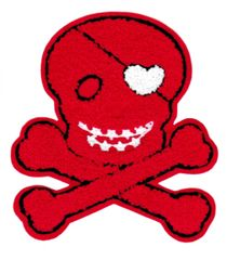 XL Extra Large Chenille Red Skull Patch 17cm