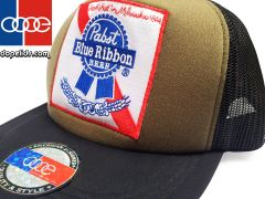smartpatches Pabst Blue Ribbon Vintage Style Trucker Hat (OD Green)