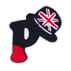 Chenille Letter P Union Jack British Flag Patch 14cm