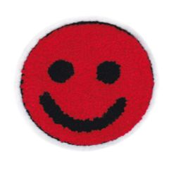 Red Chenille Smiley Face Patch Vintage Style Smile Badge 9.5cm