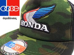 smartpatches Vintage Style Honda Motorcycle Hat (Camo Hat, R/W/B Wing)