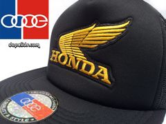 smartpatches Vintage Style Honda Motorcycle Hat (Solid Black Hat, Gold Wing)
