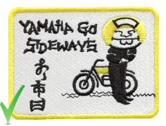 "Yamaha Vintage Style Dirt Bike Motorcycle Patch ""Yamaha Go Sideways"" 10cm x 7.5cm"