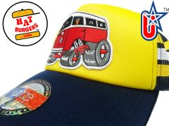 smARTpatches Truckers 70's Hippie Van Car Hot Rod Truck Trucker Hat (Blue, Yellow w Stripes)