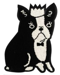 Adorable Boston Terrier Chenille Dog Patch XXL Extra Large (28cm) Applique