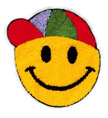 Chenille Smiley Face & Hat Patch 20cm Applique
