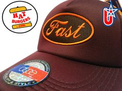 "smARTpatches Truckers ""Fast"" Racing Trucker Hat Curved Bill (Cinnamon & Orange)"