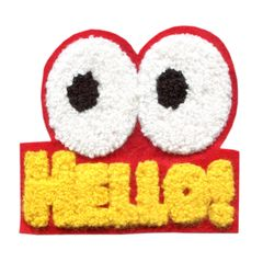 Hello Eyes Chenille Happy Face Patch Badge 9cm