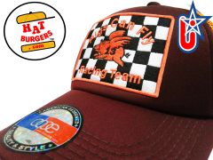"smARTpatches Truckers ""Pigs Can Fly"" Racing Trucker Hat Curved Bill (Cinnamon & Orange)"
