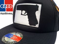 "smartpatches ""Handgun"" Vintage Style Trucker Hat (Solid Black)"