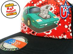 smARTpatches Truckers 80's Muscle Car Hot Rod Trucker Hat (Green Car, Bandana)