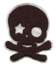 Large Chenille Black Skull Star Eye Patch (10cm)