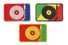 DJ Turntable Silhouette Hip Hop Rasta Patch 8cm x 5.5cm (3 Colors to Choose)
