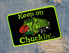 Vintage Style 70's 80's Keep on Chuckin' Truckin Garbage Truck Trucker Patch 10cm Applique