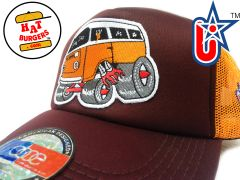 smARTpatches Truckers 70's Hippie Van Car Hot Rod Truck Trucker Hat (Orange, Cinnamon)
