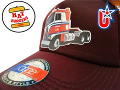 smARTpatches Truckers Semi Big Rig Trucker Hat Curved Bill (Orange & Cinnamon)