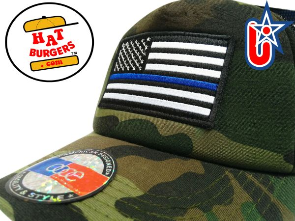 smARTpatches Truckers BLM Blue LIves Matter Trucker Hat Curved Bill (Camo)   166503c28775