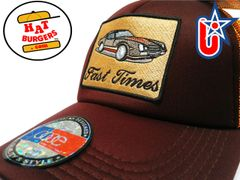 "smARTpatches Truckers ""Fast Times"" Vintage 70's Sports Car Trucker Hat (Cinnamon & Orange)"
