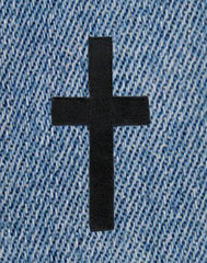 Beautiful Chenille Black Cross Patch XXL 23cm