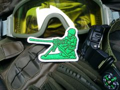 "Cool Tactical Military Green Army Man ""Machine Gun"" 50cal. Morale Patch Applique 7.5cm"