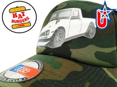 smARTpatches Truckers 70's Pickup Truck Trucker Hat Curved Bill (White Truck, Camo)