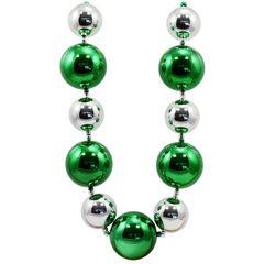 60mm-80mm Big Balls Necklace: Green & Silver