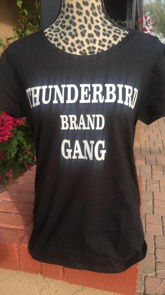 White thunderbird brand gang tshirt