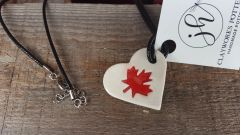 maple leaf necklace heart