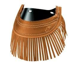 GENUINE LEATHER FRONT MUD FLAP DESERT TAN W/FRINGE - 2879583-05